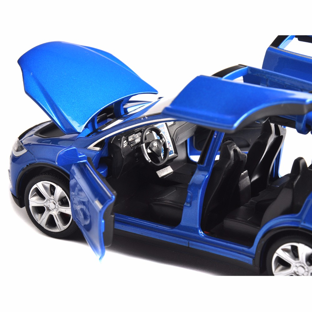 US STOCK 1:32 Scale Diecast Blue X90 Tesla Car Model Toy Gift W// Light /& Sound