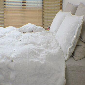 постиранное постельное белье   1 шт., постельное белье с эффектом стирки, пододеяльник, Королевский размер, роскошное французское белое постельное белье, постельные принад...