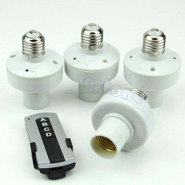 4 個ワイヤレスリモコン E27 ライトランプ電球ホルダーキャップソケットスイッチ