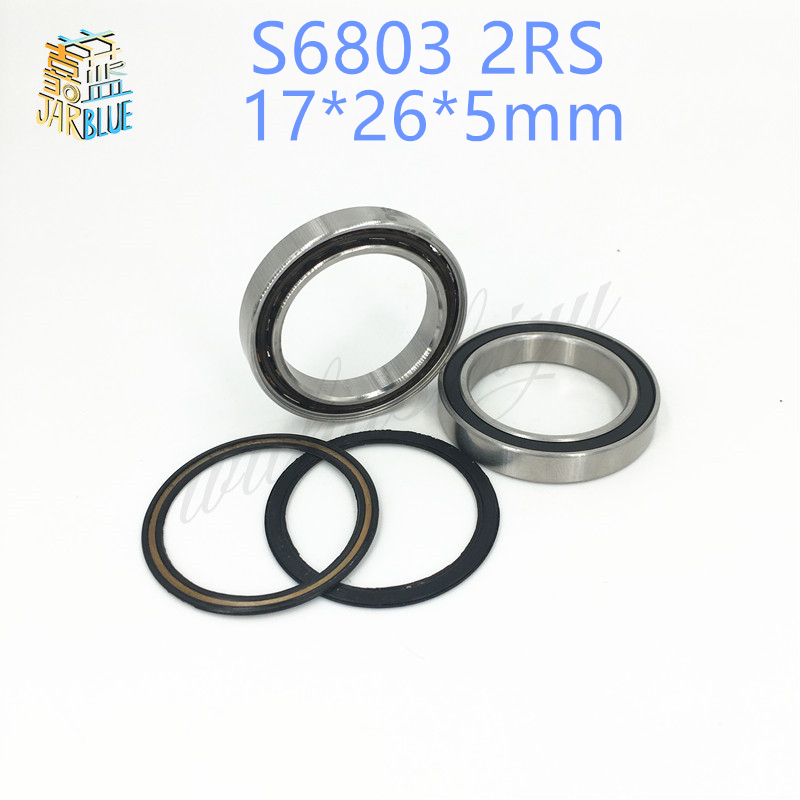 2pcs rubber sealed 440 stainless steel hybrid ceramic ball bearings S6803 6803 2RS 17*26*5mm Si3N4 bike part2pcs rubber sealed 440 stainless steel hybrid ceramic ball bearings S6803 6803 2RS 17*26*5mm Si3N4 bike part