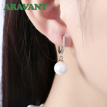 New Arrival Women Pearls Drop Earrings With White Zircon Earring Romantic Party Wedding Jewelry