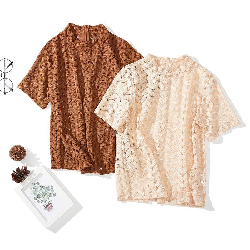 Shintimes Hollow Out Lace Shirt Women Tops Short Sleeve Female Summer 2019 Vintage Blouse Floral Woman Clothes Ladies Blouses