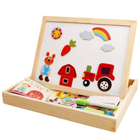 MWZ Drawing Writing Board Magnetic Puzzle Double Easel Kid Wooden Toy Gift Children Intelligence Development Toy