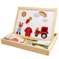 Mwz disegno tabellone per scrittura di puzzle magnetico doppio cavalletto bambino di legno giocattolo regalo bambini giocattolo sviluppo di intelligenza