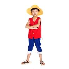 ELBCOS One Piece Childrens Monkey D Luffy Costume 1st Generation Suit Kids Wear (vest+pants+hat)