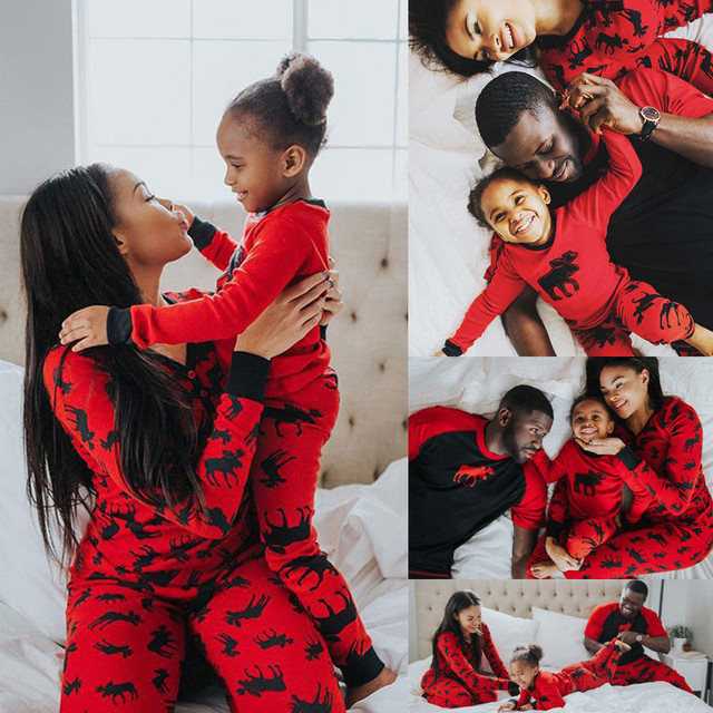 9b98c209f Hot Fashion Family Matching Christmas Pajamas Set Mom Dad Kid Red ...