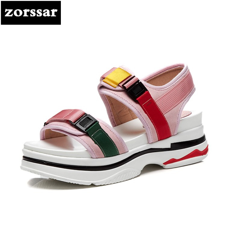 Zapatos Mujer Nuevo Mujer Planos Militar Punta rosado {zorssar} Abierta Sandalias Verde De Gladiador 2018 wZq0Tt