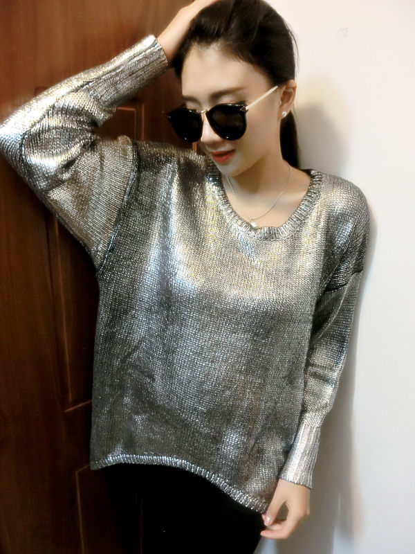 Autumn and Winter Women Sexy Street Gold Sweater Fashion Pullovers ...