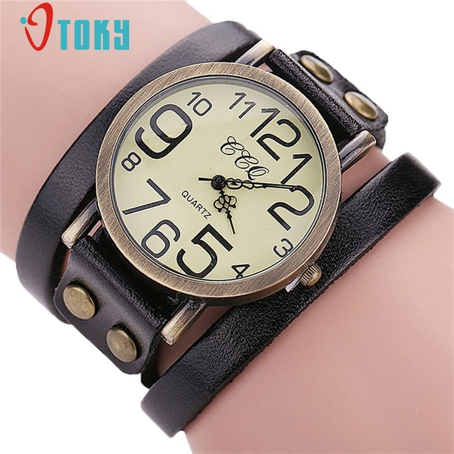 5eb0ddd8e60 OTOKY Masculino Relógio Relógio de Quartzo Moda relógio de Pulso Do Punk  Retro Grande Pulseira De
