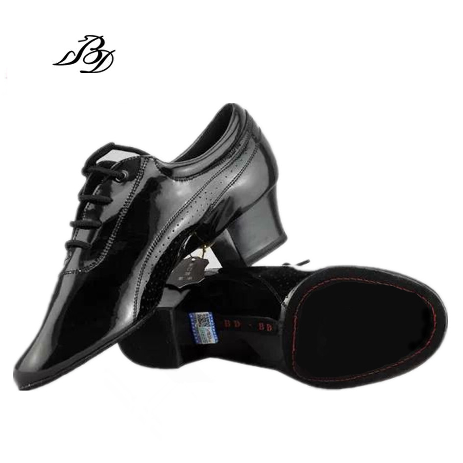 Ballroom Dance Shoes Men Shoe Sneakers Latin Shoes Adult Two soles Teacher Practice National standard Shoes Patent Leather BD424 the ballroom
