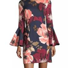 Flower Print Women Sheath Dress Flare Sleeve Casual Dresses 10K581