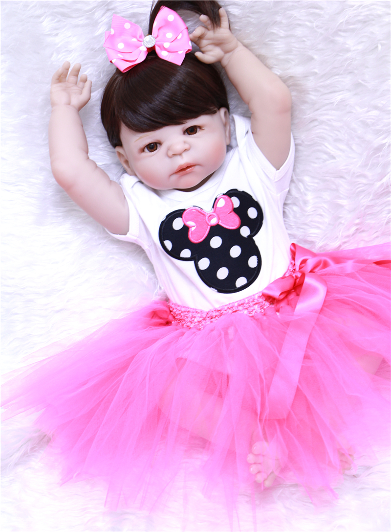 55cm Full Body Silicone Reborn Girl Baby Doll Toys Lifelike Baby Reborn Doll child brithday Gift
