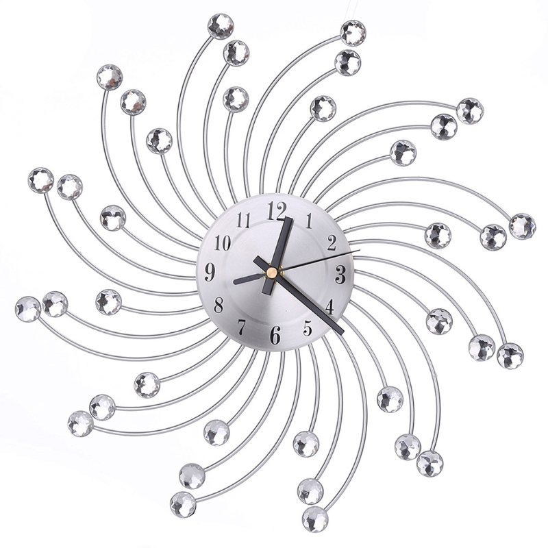 Creative Wall Clock 3D Large Metal Wall Clock Diamonds Flower Silent Dazzling Watch Home Office Living Room Decoration