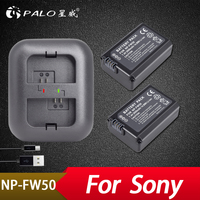 Palo 2Pcs 2000mAh NP FW50 NP FW50 Batter+Dual Charger for Sony Alpha a6500 a6300 a7 7R a7R a7R II a7II NEX 3 NEX 3N NEX 5