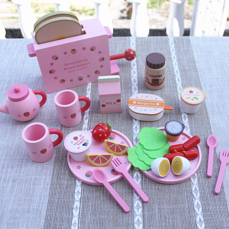 Wooden Pink Wild Strawberry Breakfast Toast Group Educational Gifts Preschool Pretend Play Toys For Girls Children Boys