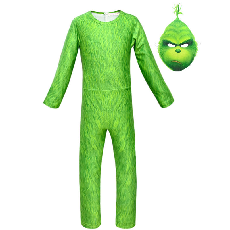 New Green Cosplay Costume Boys  Christmas Carnival Costumes For Kids Mask Clothes Boy Girl Universal Jumpsuits Set