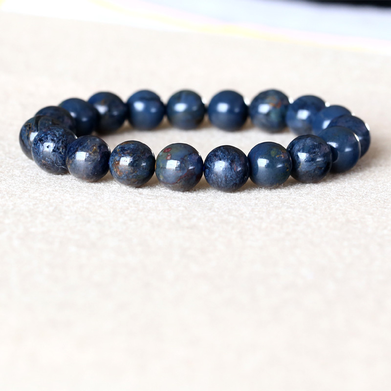 Genuine Natural Dark Blue Pietersite Namibia Stretch Men's Bracelet Round Beads 10mm 05032 недорого