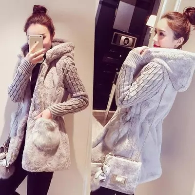 2017 autumn and winter new Korean version of the Slim classic fashion knit stitching plush thickened hat jacket women`s tide (1)