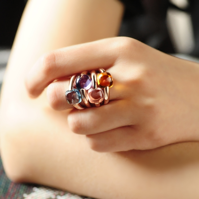 Top Quality Pomell Queen Ring Fashion Multicolor Fruit Hard Candy Magic Amulet Ring