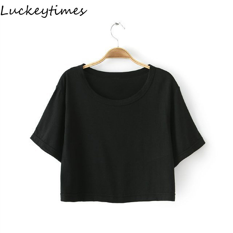 b28ca978354 US $5.05 |Cotton Summer Short Plain Trendy Crop Tops Women 2016 Loose Black  O Neck Top Tees Female Casual T Shirts One Size-in T-Shirts from Women's ...