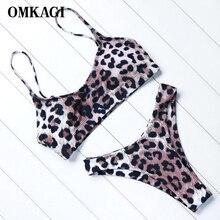 OMKAGI Brand Animal Print Bikini Bathing Suit 2018 Swimwear Women Female Sexy Push Up Bodysuit Swimsuit Newest