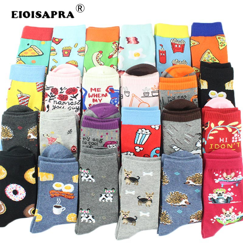 [EIOISAPRA]85% Combed Cotton New Product Fashion Harajuku Funny Happy Socks Women's Breathable Casual Cartoon Food Fruit Socks