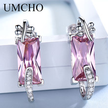 UMCHO Solid 925 Sterling Silver Jewelry Elegant Pink CZ Earrings Drop For Women Romantic Birthday Gift Fine