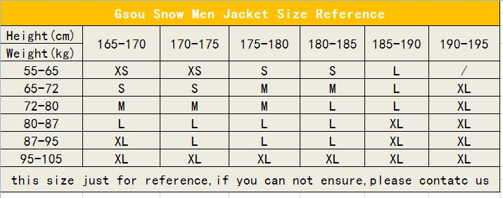 Men Jacket Size reference.