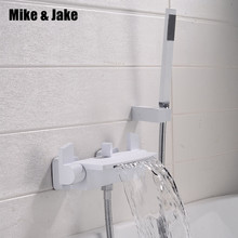 Pure white bathtub faucet wall mounted waterfall mixing valve chrome bathtub waterfall shower shower cold and hot bath faucet