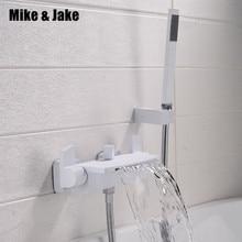 טהור לבן אמבטיה ברז קיר רכוב מפל ערבוב שסתום chrome אמבטיה מפל מקלחת מקלחת קרה וחמה אמבטיה ברז