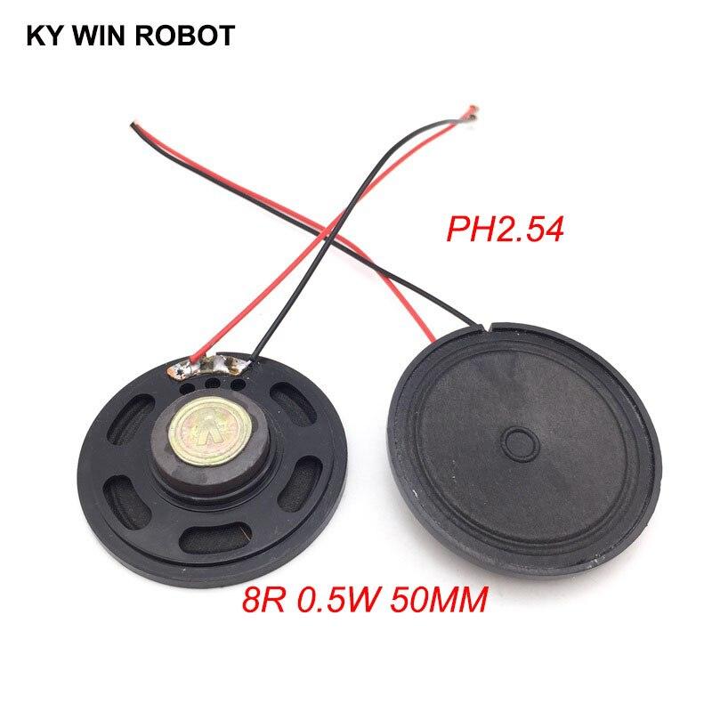 """מזגנים 2pcs / הרבה חדש דק צעצוע ברכב צופר 8 אוהם 0.5 וואט 0.5W 8R הדובר קוטר 50MM 5 ס""""מ עם 10 ס""""מ אורך החוט מסוף PH2.54 (1)"""