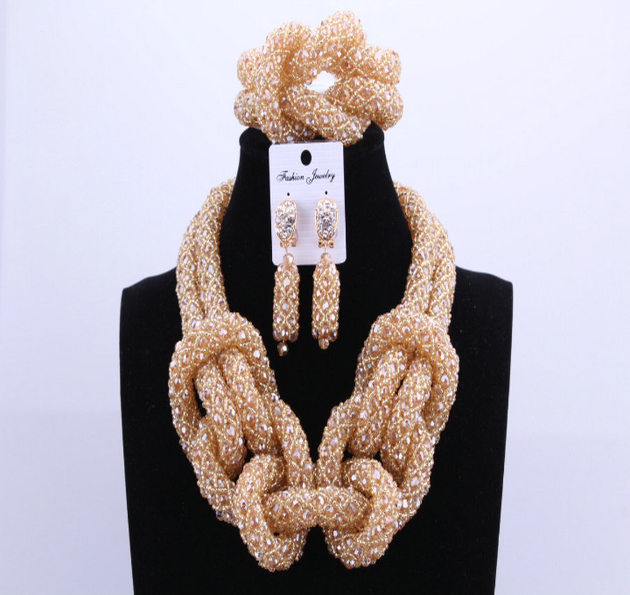 Роскошные Ручной Золото Хрустальные Бусины Женщины Ожерелье Свадебные Ювелирные Изделия Свадебные Африканские Бусы Комплект Ювелирных Изделий 2017 Бесплатная Доставка