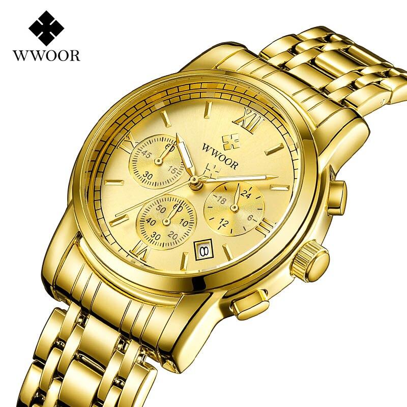 купить relogio masculino WWOOR Men's Watches Top Brand Luxury Fashion Business Quartz Watch Men Sport Full Steel Waterproof Wristwatch по цене 14952.65 рублей