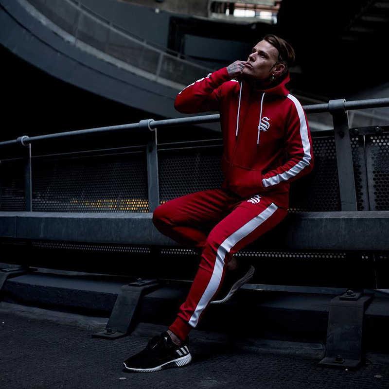スウェットパンツスラックスジョガージム服男性ランニングスポーツスーツ男性フィットネスボディビルスポーツウェアメンズパーカー+パンツトラックスーツメンズスポーツスーツ