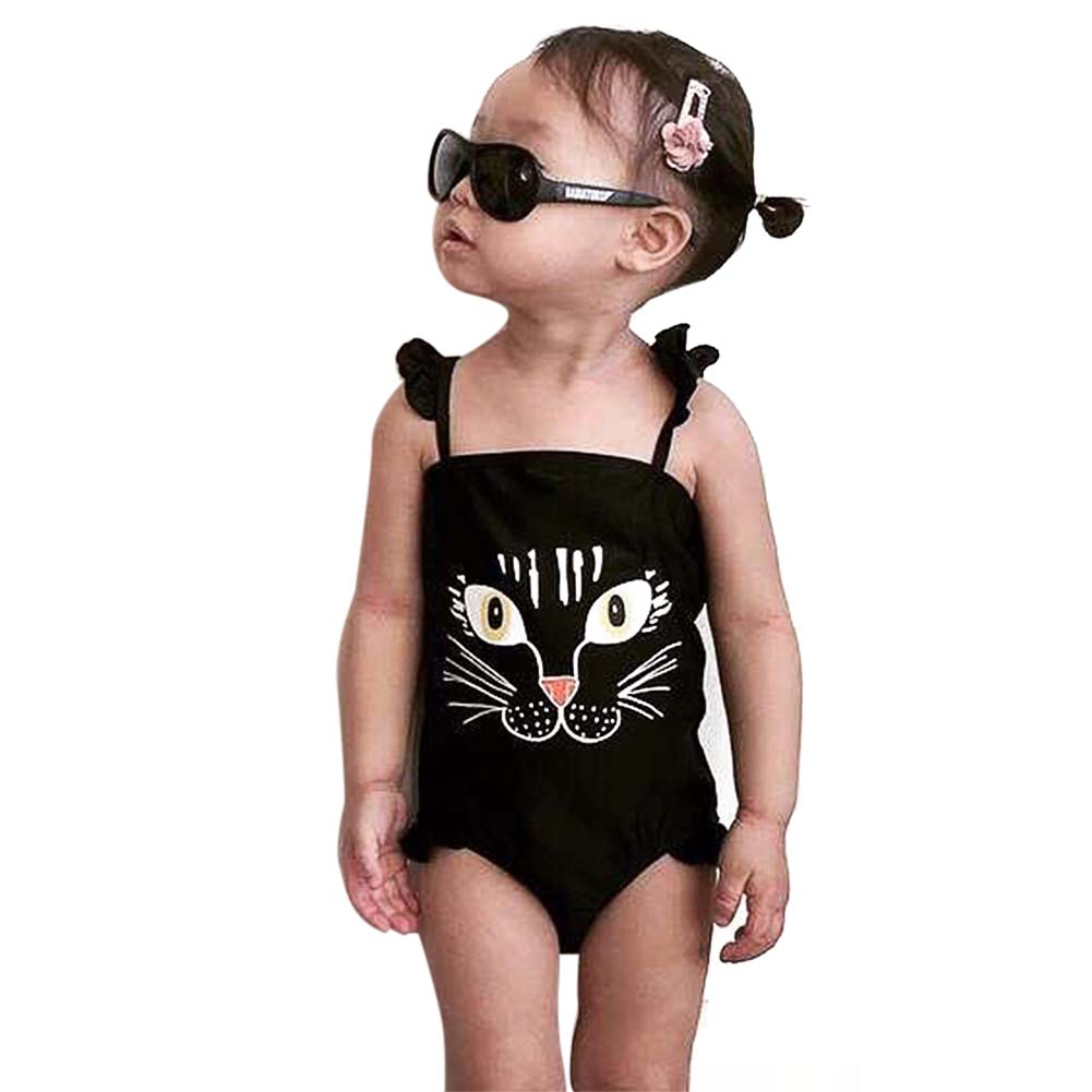 Big Eye Cute Tiger Baby Girls Swimwear Lovely Kids Girl One-piece Swimsuit Summer Beach Suit Children Bathing Suit Halter Bikini 2pcs kids baby girls floral swimsuit children girl bikini set summer swimwear bathing suit 1 6y