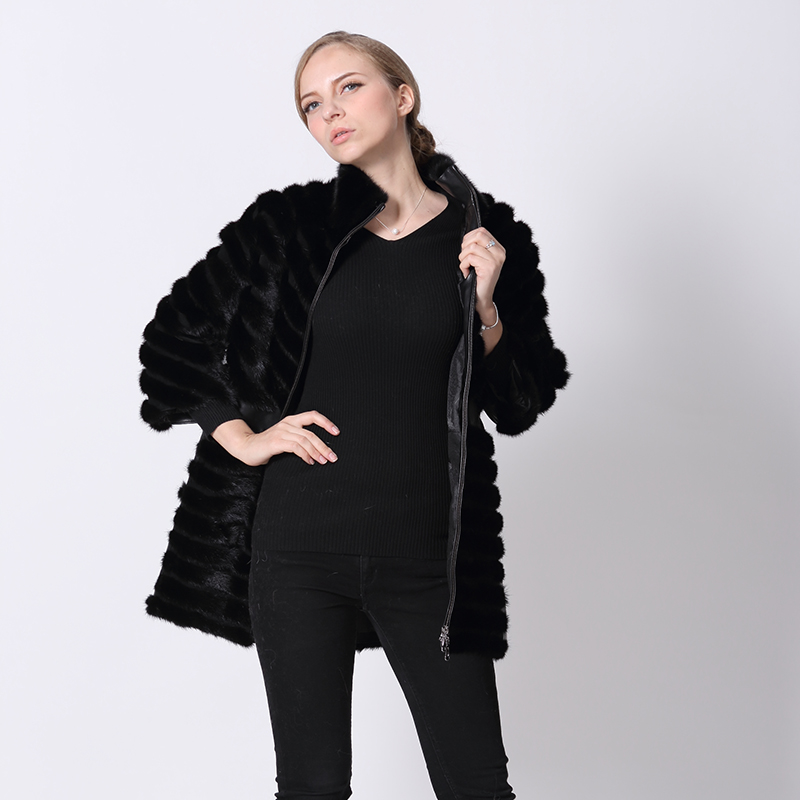 Cuir De Cm Gilets Patchwork Éclair Manteaux Mouton Nouveau Manteau Femmes Noir Des Avec Hiver Fermeture 2017 Fourrure 75 Vison Peau Véritable En Vestes Réel xw8YtZpq