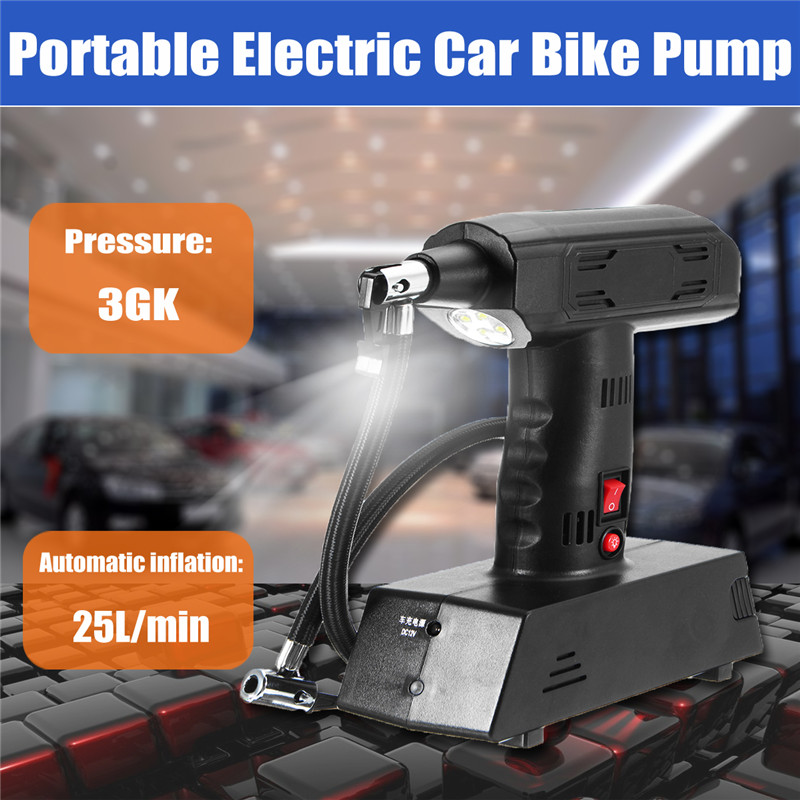1Pcs 12V Rechargeable Portable Electric Car Bike Pump Air Compressor Tire Inflator High Quality electric tire inflator air pump portable tiny smart for electric bike mountain bicycle