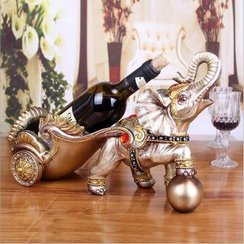 Resin Elephant Figurine Home Decor Craft Gift Animal Ornament Wine Holder Wine Bottles Decor Display Shelf And Racks