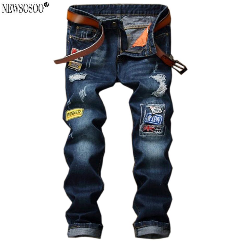 ФОТО Newsosoo Newest Men's casual hole badge patch ripped jeans Fashion dark blue denim pants Long trousers jeans hommes MJ77