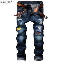 Newsosoo Новые мужские случайные отверстия знак патч разорвал джинсы Мода темно-синий джинсовые брюки Длинные брюки джинсы hommes MJ77