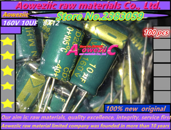 Aoweziic 100 PCS 160V 10UF 8X12 high frequency low resistance electrolytic capacitor 10UF 160V 8*12 image