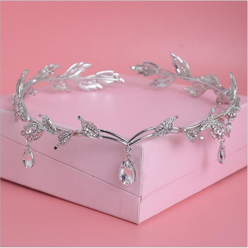 Prickelnde kristall gold verlässt frauen braut stirnband braut kopf - Modeschmuck - Foto 3