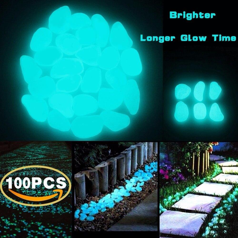 100 Pcs Glow In The Dark Garden Pebbles Ccoqus Garden