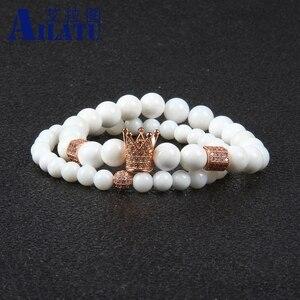 Image 4 - Ailatu מכירה לוהטת תכשיטים סיטונאי 10 סטי 8mm טבעי לבן אבן עם מיקרו פייב Cz כתר זוג צמיד