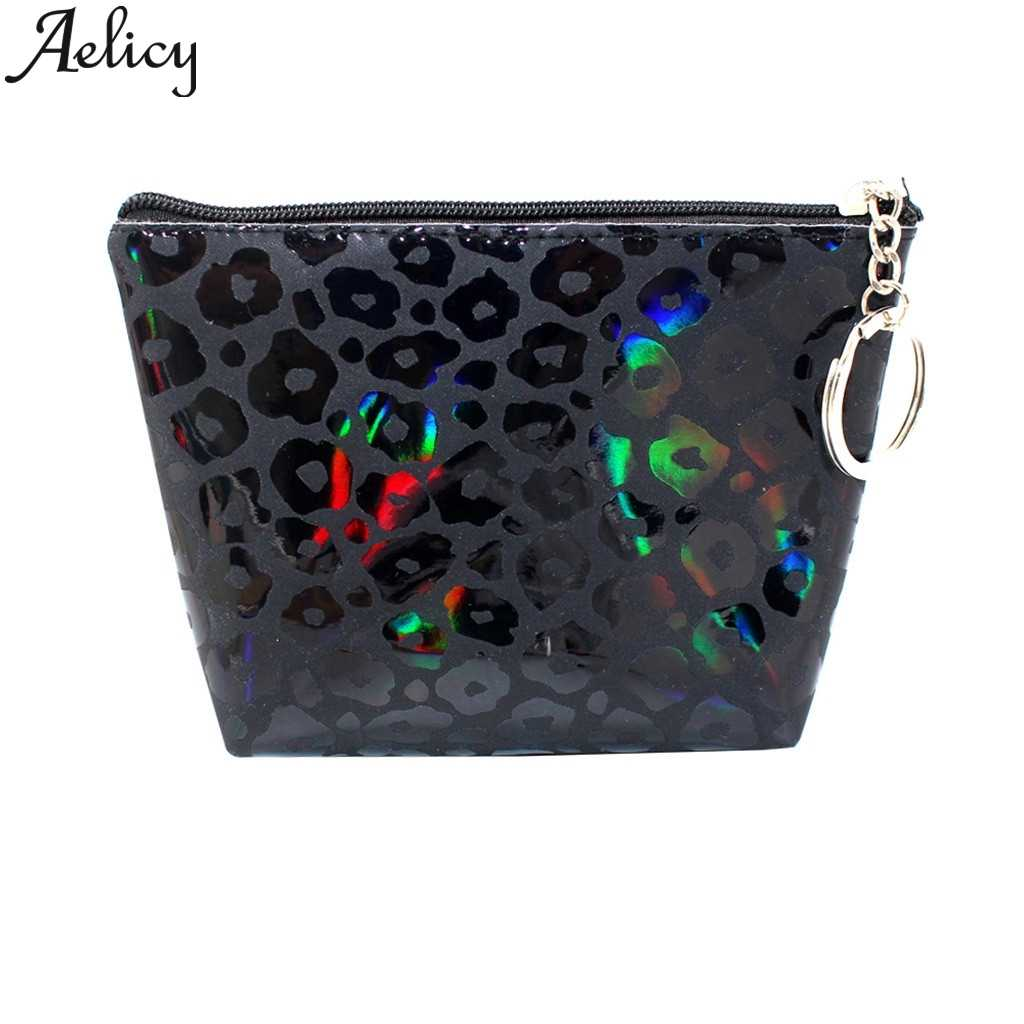 Aelicy 2019 Cute Leopard Print Mini Wallets Coin Purse Woman Cats Clutch Handbag Women Square Coins Change Keyholder Leather