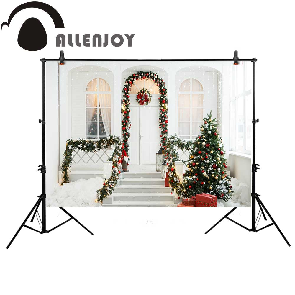 Allenjoy Christmas photography backdrop tree new year white door window Background steps photobooth photocall photo studio