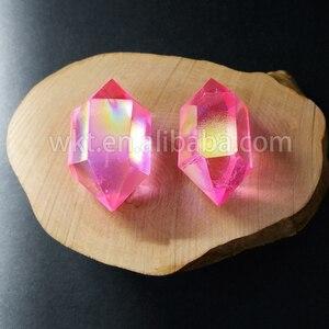 Image 3 - WT G148 Tehlikeli mix renk aqua aura kuvars taş moda çift taraflı aura noktası çift değnek kristal noktası taş toptan için