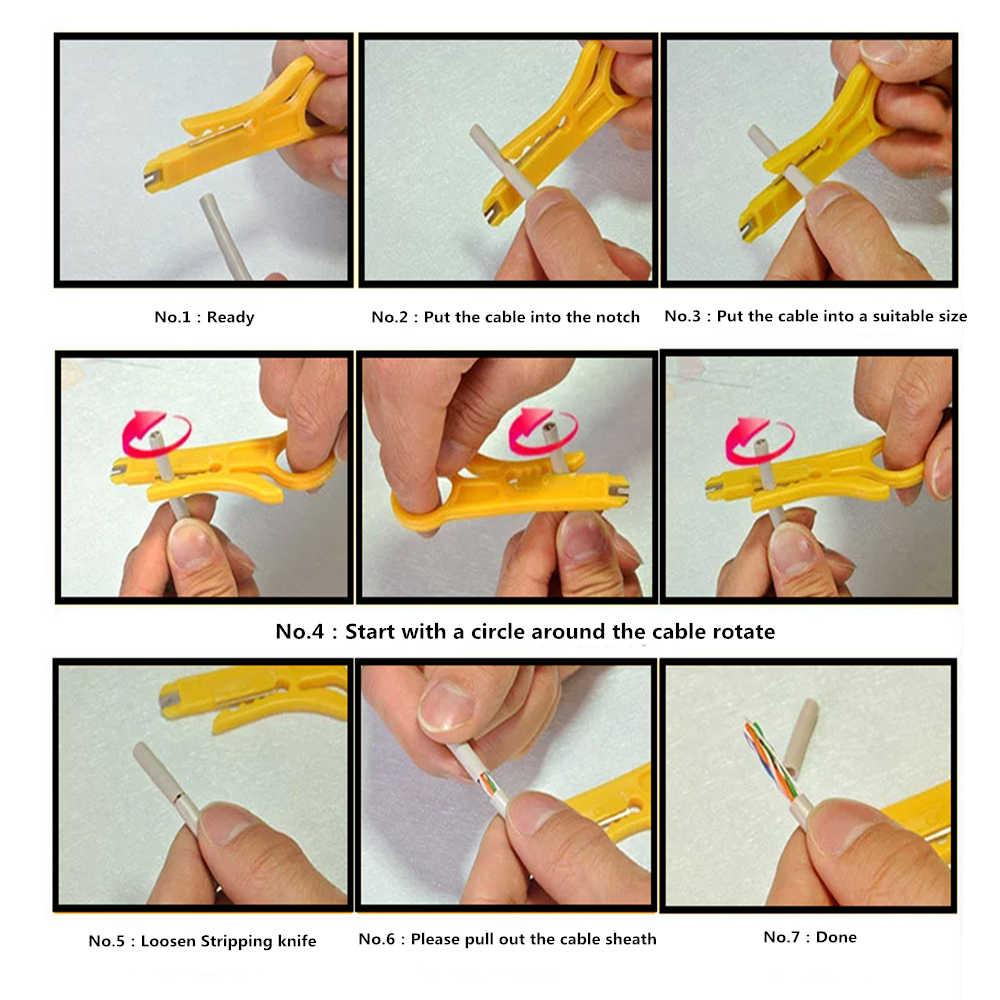 Mini przenośny szczypce do zdejmowania izolacji nóż szczypce do zaciskania narzędzie do zaciskania ściąganie izolacji z kabla przecinak do drutu narzędzia wielofunkcyjne linia cięcia kieszeni Multitool