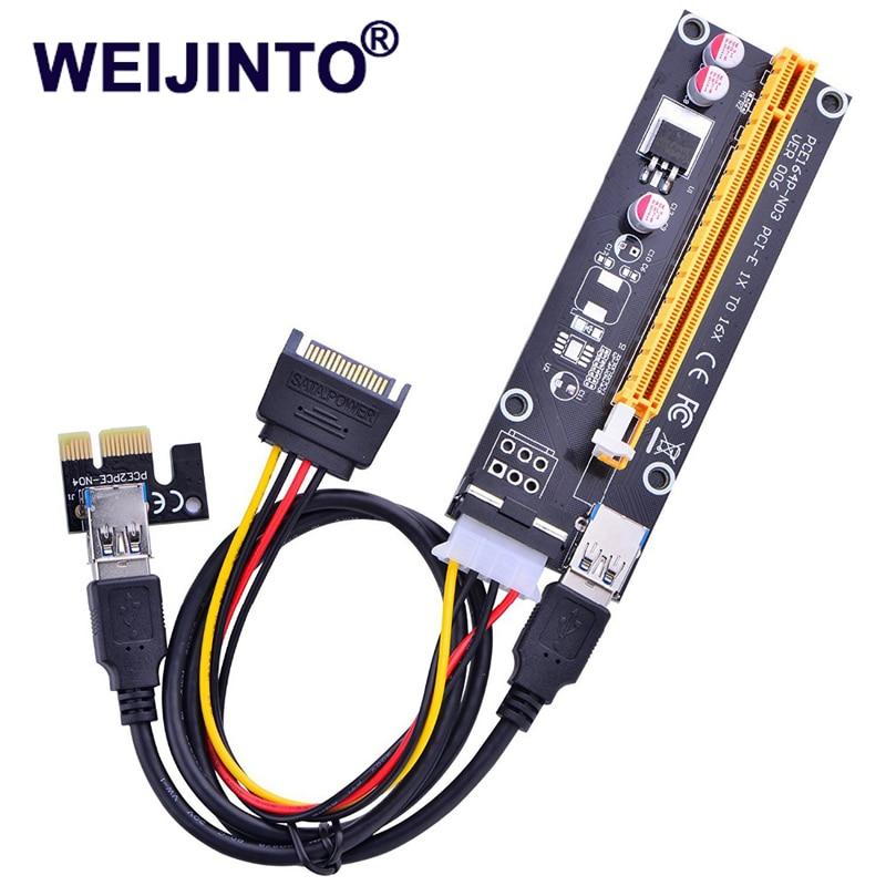 WEIJINTO 18pcs Pci-e Extender Pci Express Riser Card 1x To 16x Usb3.0 Cable Sata To 4pin Molex Power For Bitcoin Mining Ver 006