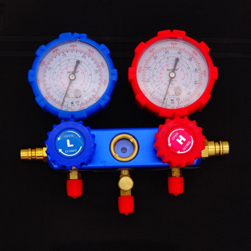 Image 4 - Блок охладителя с вентиляторами набор коллекторов с манометром инструменты для технического обслуживания R134A автомобильный набор с чехлом для переноски AC диагностический хладагент